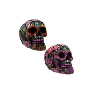 Day of the Dead Metallic Daisy and Flower Skulls
